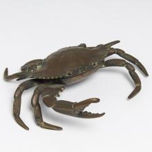 French Art Nouveau Bronze Crab-Form Inkwell