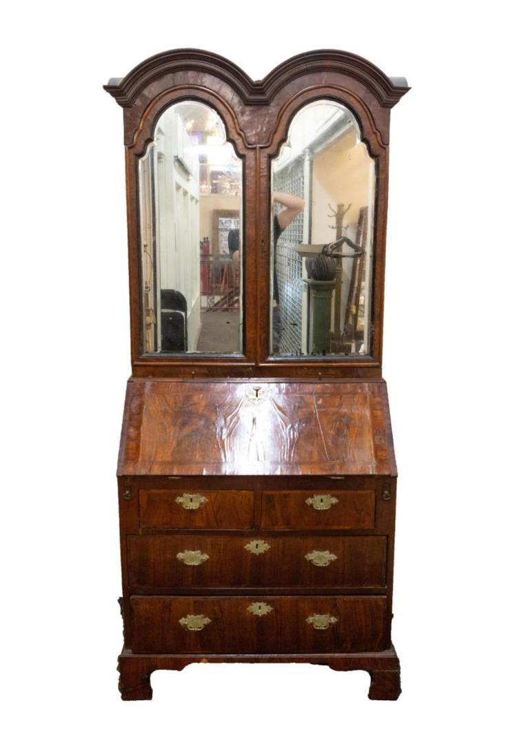 Antique Queen Anne Secretary Desk Period Walnut
