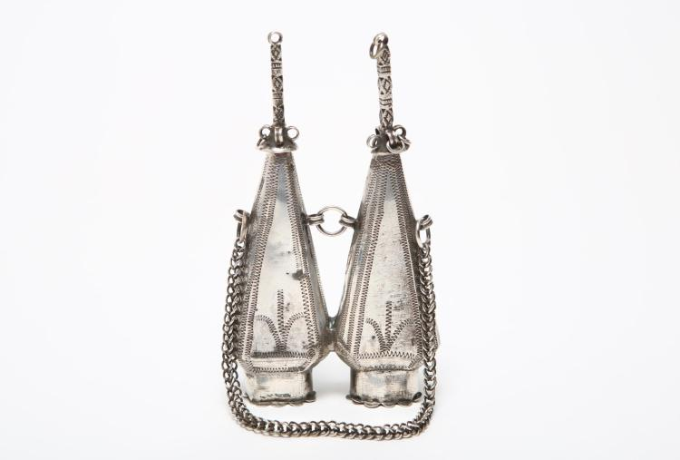 Moroccan Silver Kohl Container, Double-Flask Form