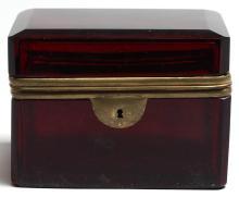 Brass & Red Bohemian Glass Box