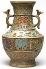 Japanese Gilt Bronze & Champleve Vase