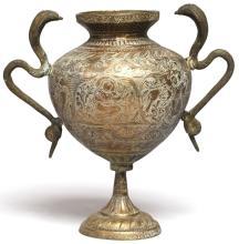 Indian Bronze Vase with Cobra Handles