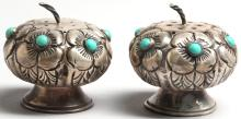 Pair of Taxco Silver & Turquoise Salt & Peppers