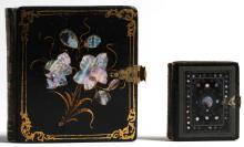 2 Black Lacquer & Mother-of-Pearl Photo Frames