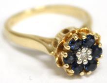 14K Gold, Sapphire, & Diamond Ring
