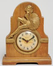 Sessions Art Deco Wood Electric Mantel Clock