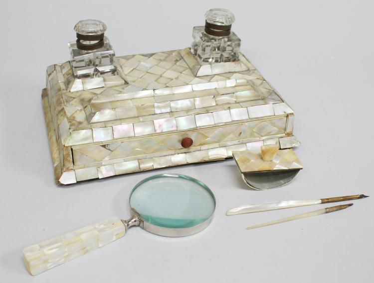 Victorian English Mother-of-Pearl Dual Inkstands