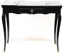 Louis XV-Style Black Lacquer Ladies Writing Desk