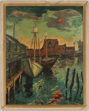 "Harry Shoulberg ""Gloucester Harbor"" Serigraph"