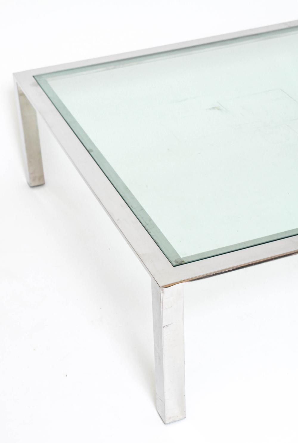 Mid Century Modern Chrome Glass Coffee Table