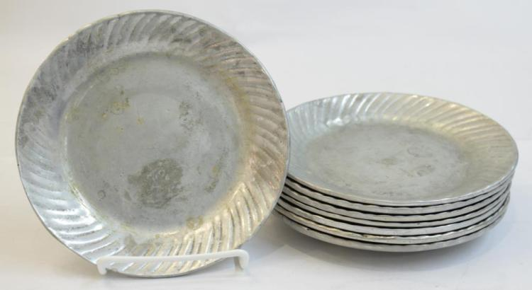 8 Small Pewter Plates