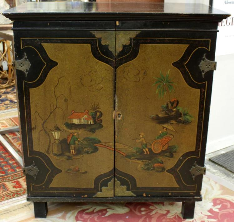 Chinoiserie Small Polychrome Painted Chest