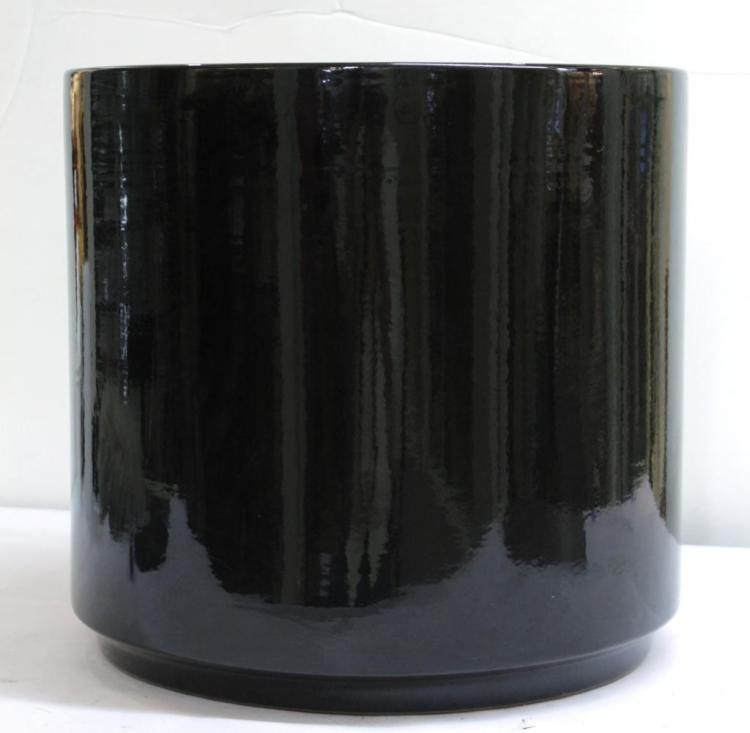 Large Black-Glazed Ceramic Planter