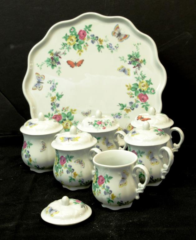 Limoges Porcelain Tea Cups & Tray