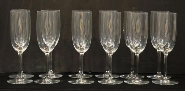 8 Baccarat Crystal Champagne Flutes