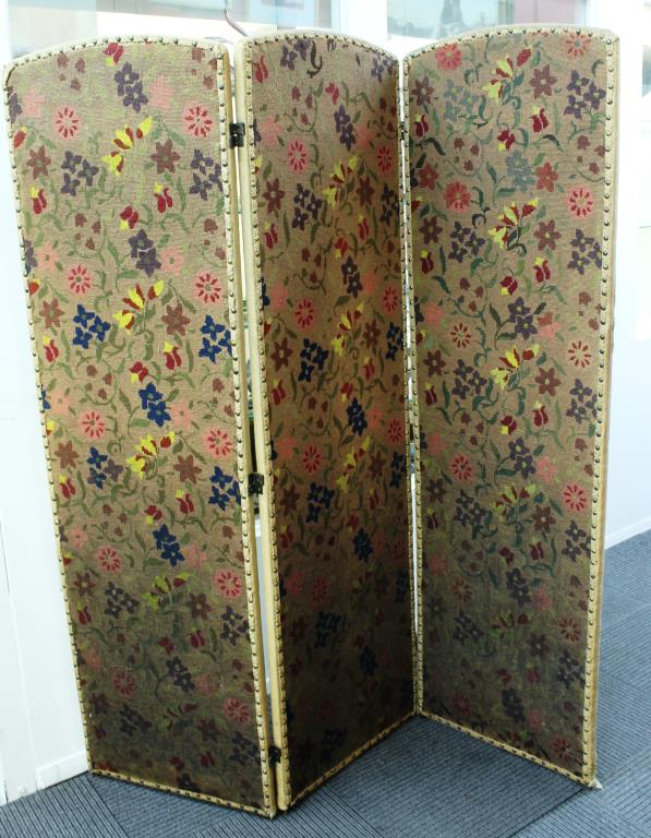Needlepoint Wool 3-Panel Boudoir Screen