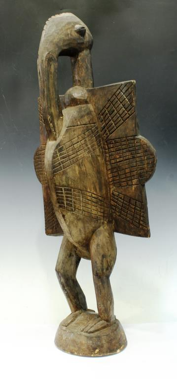 Large African Carved Wood Figure, Standing Bird