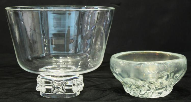 Steuben Large Glass Bowl with Prunted Base, & Bowl