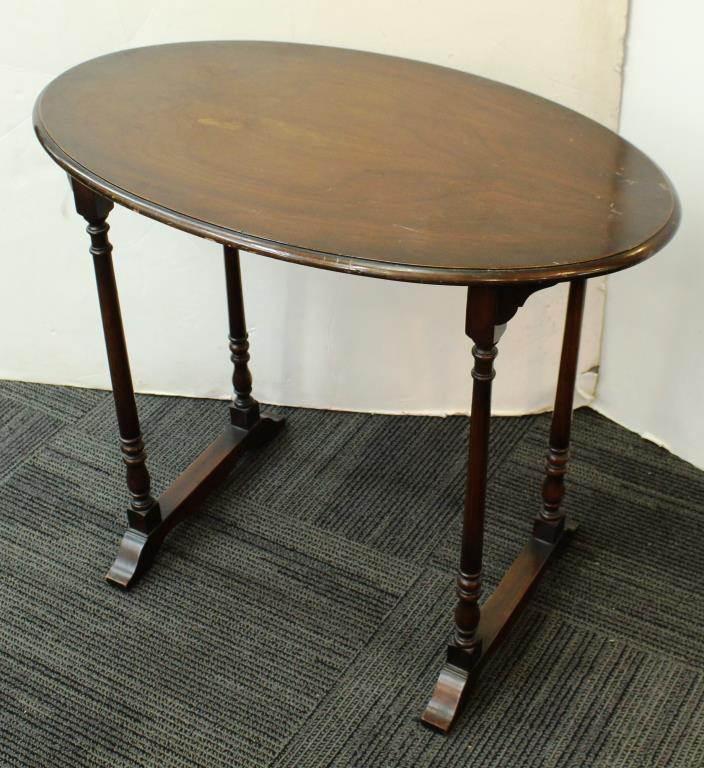 Vintage Small Walnut Oval Table