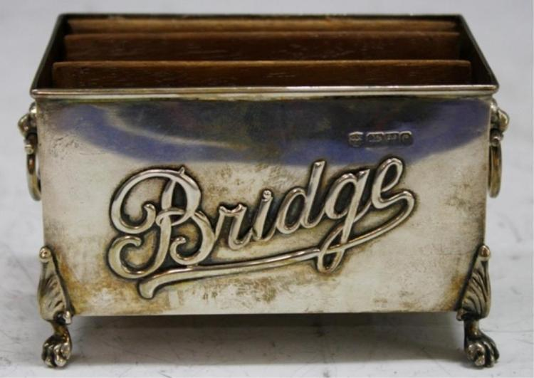 Edwardian English Silver Bridge Card Holder, 1903