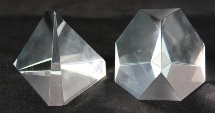 2 Steuben Cut Crystal Paperweights