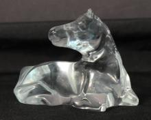 Baccarat Reclining Horse-Form Crystal Paperweight