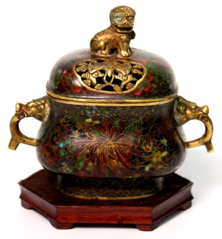 Chinese Cloisonné Gilt Brass Incense Burner