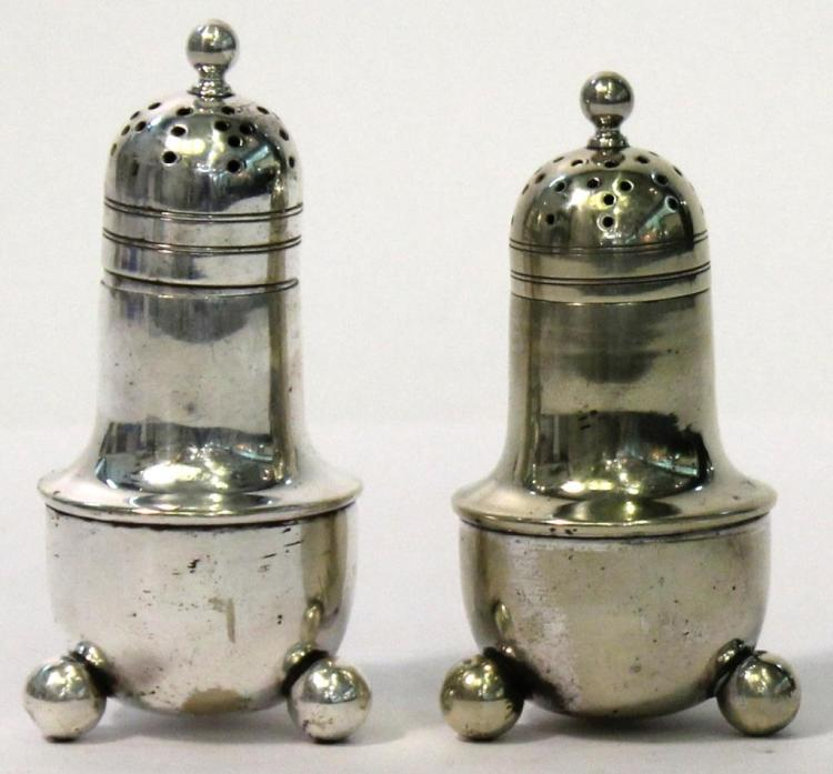 Pair of Empire-Style Silver Salt & Pepper Shakers
