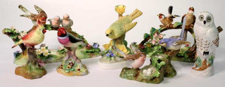 8 Small Staffordshire Bone China Birds