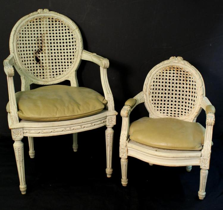 Two Diminutive Louis XVI-Style Fauteuil