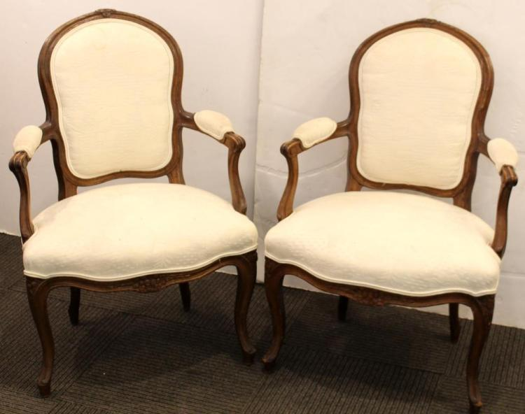 Pair Vintage Louis XV-Style Upholstered Fauteuils