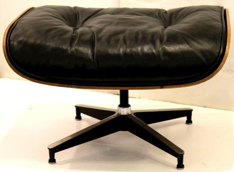 Charles Eames Herman Miller Black Leather Ottoman