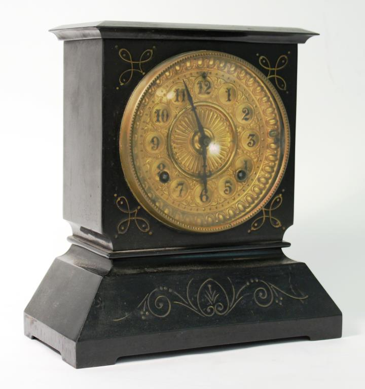 Ansonia Victorian Cast Iron Black Mantle Clock