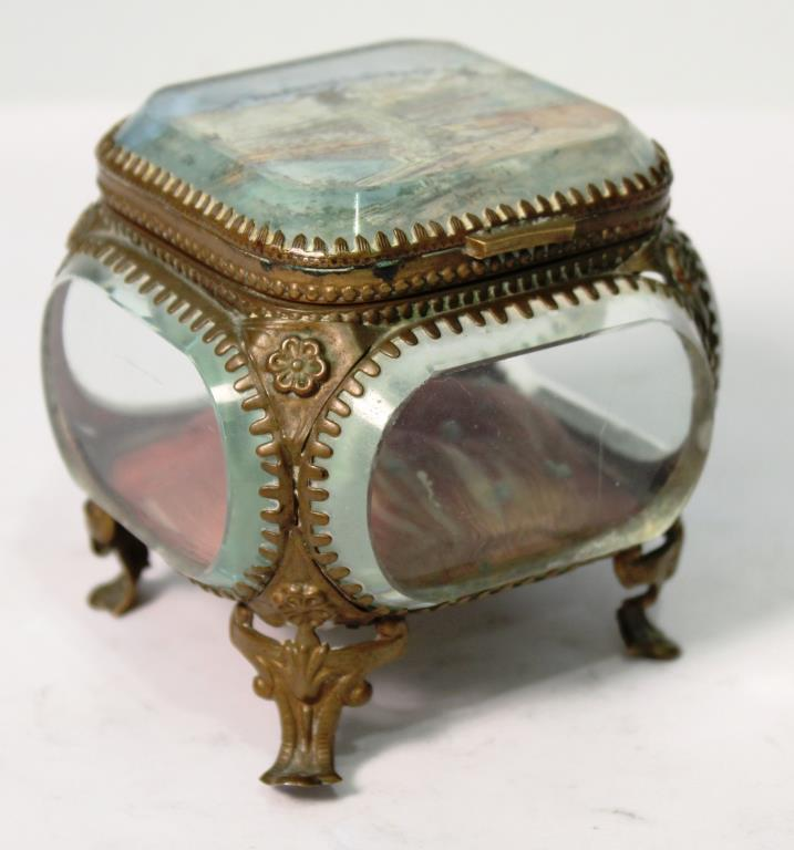 Antique Verre Eglomise Trinket Box, France