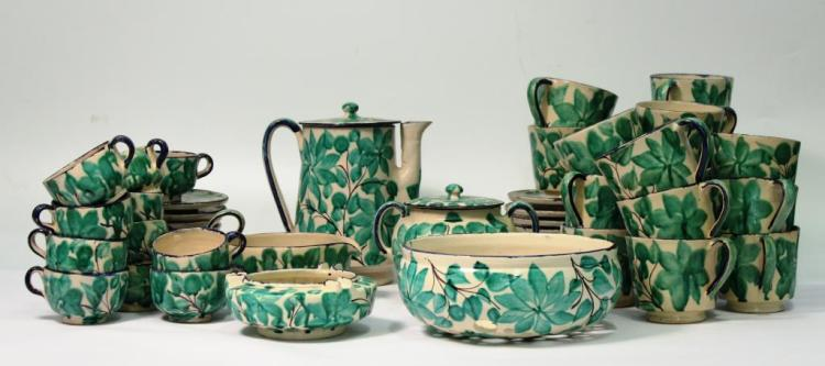 Hand-Painted Pottery Coffee Set, Mexico