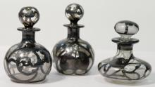 3 Antique Silver Overlay Perfume Bottles