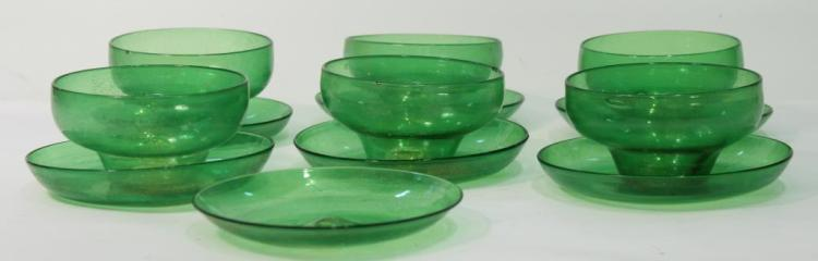 6 Murano Ice Cream Bowls & Saucers