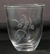 Small Orrefors Flower-Etched Vase, Sweden