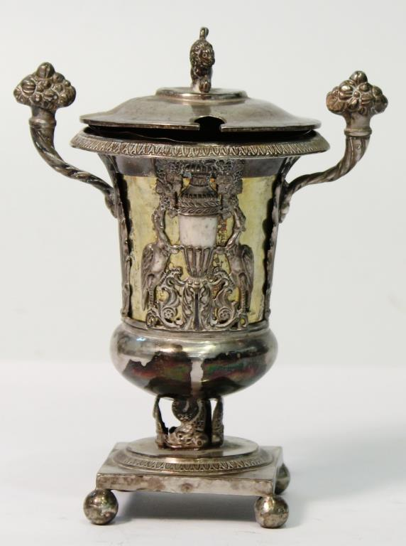 French Sterling & Vermeil Condiments Pot, 19th C.