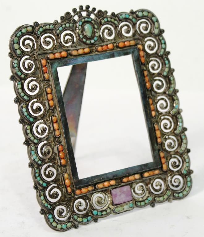 Matl Mexican Sterling, Turquoise, & Coral Frame