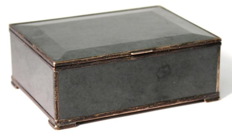 Antique Silver-Mounted Nephrite Jade Box