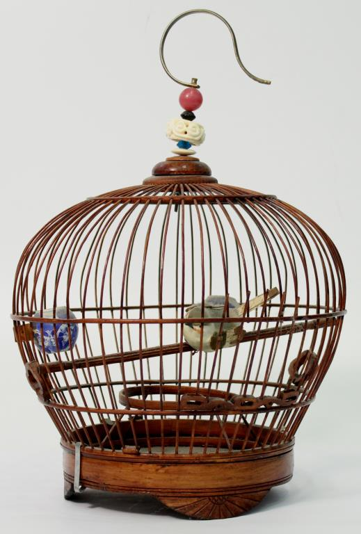 Chinese Split Bamboo, Wood, & Porcelain Birdcage