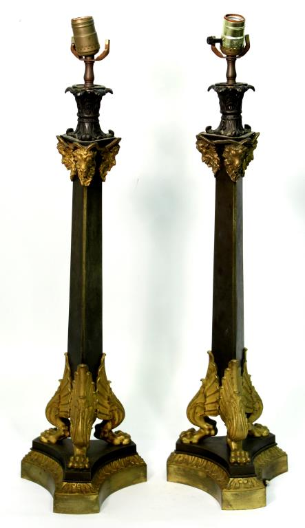 Pair Neoclassical-Style Steel & Ormolu Candlestix