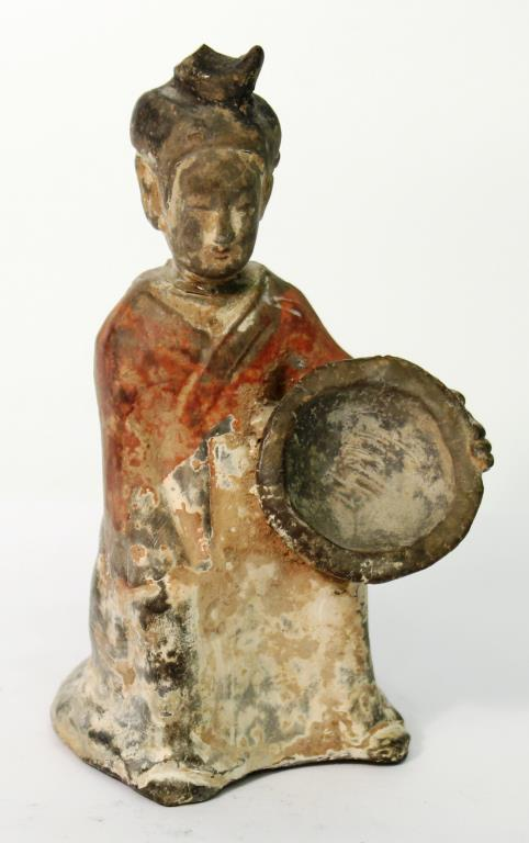 Chinese Tang-Style Pottery Tomb Figure of a Lady