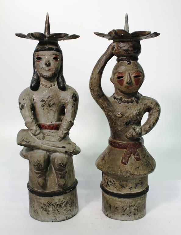 2 Cast Metal Haniwa Figure Candlesticks