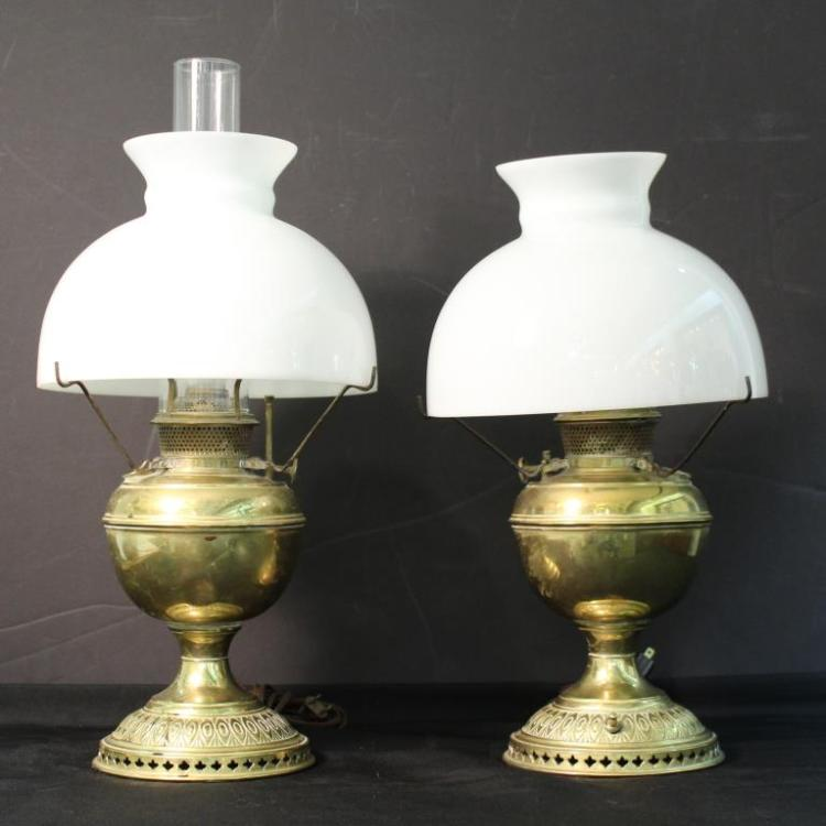 Pair of Bradley & Hubbard Brass Oil Lamps