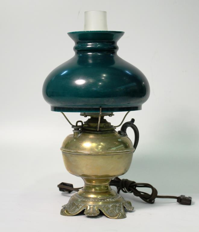Edward Miller Victorian Brass Oil Lamp