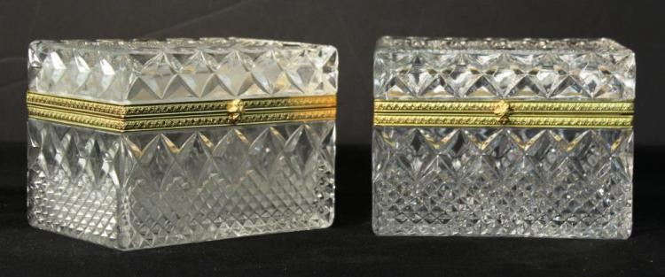 Pair of Bohemia Cut Lead Crystal & Ormolu Boxes