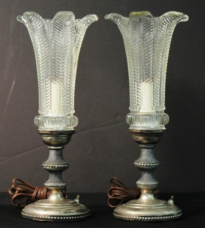 Pair Vintage Cut Glass & Silver-Tone Metal Lamps