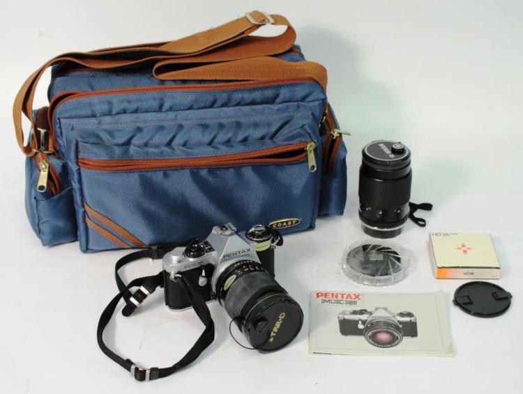 Pentax ME Super Vintage Film Camera, Lenses, & Bag